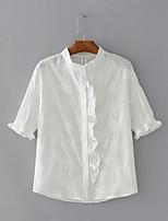 Для женщин На выход На каждый день Лето Осень Рубашка Воротник-стойка,Секси Простое Уличный стиль Однотонный С короткими рукавами,Хлопок,