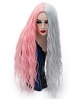 жен. Парики из искусственных волос Без шапочки-основы Длиный Свободные волны Розовый / Фиолетовый Парик из натуральных волос Парики для