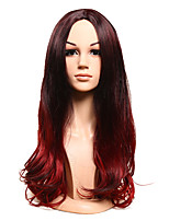 Long Black Mix Dark Wine Body Wave Wig for Women Costume Cosplay Synthetic Wigs