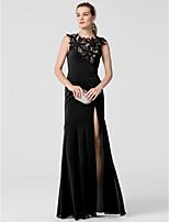 Eng anliegend Schmuck Boden-Länge Chiffon Formeller Abend Kleid mit Applikationen Vorne geschlitzt durch TS Couture®