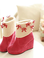 Women's Boots Comfort Fall Winter PU Casual Black Beige Yellow Blushing Pink 1in-1 3/4in