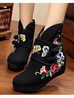 Для женщин Ботинки Удобная обувь Осень Полотно Повседневные Черный Красный На плоской подошве
