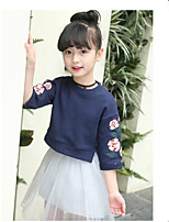 Girls' Solid Embroidered Sets,Cotton Spring Fall Long Sleeve Clothing Set