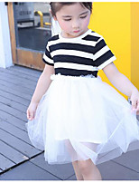 Girl's Striped Dress,Cotton Summer Short Sleeve