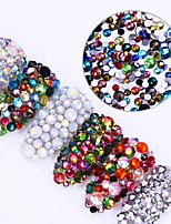 300Pcs Chameleon Flame Nail Rhinestone Shiny Opal Flat Bottom Multi-size Colorful Tips Manicure Nail Art 3D Decoration