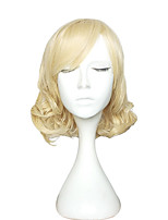 Women Synthetic Wigs Capless Medium Curly Blonde Natural Wig Costume Wig