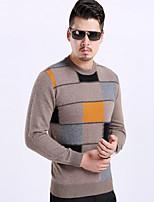Standard Pullover Da uomo-Casual Monocolore Rotonda Manica lunga Poliestere Primavera Sottile Media elasticità