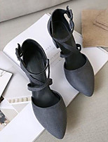 Women's Shoes PU Summer Comfort Heels For Casual Black Gray Green Almond
