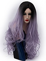 Women Synthetic Wig Capless Long Natural Wave Purple Ombre Hair Natural Wig Party Wig Halloween Wig Carnival Wig Costume Wigs