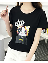 Women's Casual/Daily Simple T-shirt,Solid Animal Print Round Neck Short Sleeve Cotton