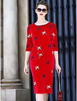 Gaine Robe Femme Décontracté / Quotidien Couleur Pleine Imprimé Col Arrondi Mi-long Manches 3/4 Polyester Eté Taille Normale Elastique