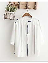 Women's Casual/Daily Simple Summer Shirt,Solid Standing Collar 3/4 Length Sleeve Cotton
