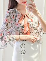 Для женщин На выход На каждый день Лето Осень Блуза V-образный вырез,Простое Богемный Цветочный принт Рукав до локтя,Полиэстер,Средняя