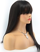 Brazilian Virgin Human Hair wigs Pre Plucked Silky Straight lace Front Wigs with bangs for Balck Women