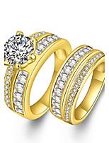 Men's Women's Couple Rings Diamond Cubic Zirconia Bohemian Punk Luxury Statement Jewelry Simple Style Zircon Rhinestone Gold Plated