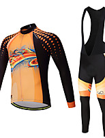 Sports Cycling Jersey with Bib Tights Men's Long Sleeve BikeBreathable Quick Dry Moisture Permeability 3D Pad Reflective Strips