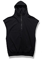 Men's Sports Hoodie Solid Hooded Micro-elastic Others Sleeveless Spring Summer
