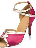 Для женщин Латина Шёлк Сандалии Концертная обувь Крест-накрест На шпильке Оранжевый Бежевый Лиловый Пурпурный Красный 7,5 - 9,5 см