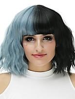 Mujer Pelucas sintéticas Sin Tapa Medio Ondulado Negro / Humo Azul Peluca natural Peluca de Halloween Peluca de fiesta Peluca de carnaval