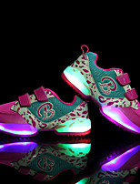 Girls' Athletic Shoes Light Up Shoes Tulle Spring Fall Athletic Casual Outdoor Magic Tape Flat Heel Fuchsia Black Flat