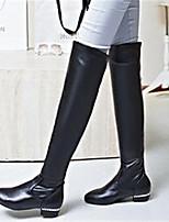 Feminino Sapatos Pele Nobuck Couro Ecológico Outono Conforto Botas Para Casual Preto