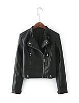 Для женщин Спорт На выход Весна Осень Кожаные куртки Лацкан с тупым углом,Простой Однотонный Обычная Длинный рукав,Полиэстер