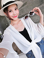 Women's Going out Cute Blouse,Solid V Neck Long Sleeves Faux Fur