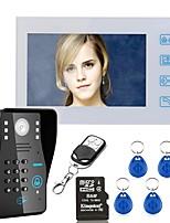 7 enregistrement rfid mot de passe vidéo porte téléphone interphone sonnette avec carte 8g tf carte de vision nocturne caméra de sécurité
