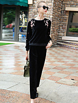 BLUEOXY Women's Sports Going out Casual/Daily Simple Fall Winter Blouse Pant SuitsEmbroidered Round Neck Long Sleeve Stretchy