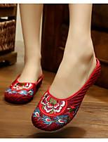 Для женщин Обувь Ткань Лето Удобная обувь Тапочки и Шлепанцы Назначение Повседневные Бежевый Красный