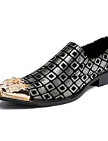 Men's Loafers & Slip-Ons Novelty Cowhide Wedding Casual Party & Evening Metallic toe Sliver Black