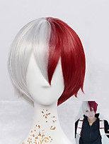 My Hero Academia Boku no Hiro Akademia Shoto Todoroki Short Silvery White And Red Cosplay Wigs Hallowen Custome Party Men's Wig Heat Resistant