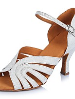 Women's Latin Nubuck leather Sandals Heels Professional Buckle Stiletto Heel White 2