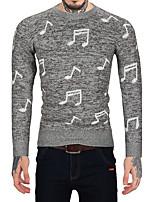 Для мужчин На каждый день Офис Винтаж Простое Обычный Пуловер С принтом Контрастных цветов,Круглый вырез Длинный рукав Шерсть