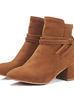 Women's Shoes PU Fall Winter Comfort Boots For Casual Black Beige Yellow