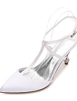 Women's Wedding Shoes T-Strap Comfort Basic Pump Ankle Strap Spring Summer Satin Wedding Dress Party & Evening Rhinestone Sparkling