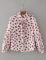 Для женщин На выход На каждый день Весна Осень Блуза Рубашечный воротник,Секси Простое Уличный стиль С принтом Длинный рукав,Хлопок