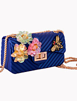 Women Shoulder Bag Silica Gel All Seasons Wedding Event/Party Formal Flap Rhinestone Appliques Sparkling Glitter Bead Seemless Sequined