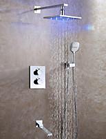 Современный LED На стену Дождевая лейка Термостатический with  Керамический клапан Две ручки Четыре отверстия for  Хром , Смеситель для