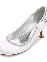 Mujer Zapatos de boda Confort Pump Básico Satén Primavera Verano Boda Vestido Fiesta y NochePedrería Pajarita Flor de Satén Purpurina