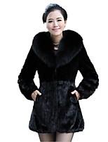 Для женщин На каждый день Осень Зима Пальто с мехом Воротник Питер Пен,Простой Однотонный Длинная Длинный рукав,Лисий Мех