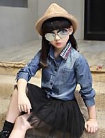 Girls' Solid Blouse,Cotton Spring Fall Long Sleeve Regular