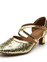 Women's Latin Faux Leather Full Sole Performance Chunky Heel Silver Black Gold 1