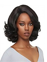 Synthetic Wave Medium Wig Black Color For Women High Temperature  Wigs