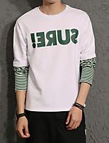 Men's Plus Size Casual Slim Letter Printed Sweatshirt Cotton Spandex