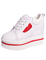 Women's Sneakers Formal Shoes Fall PU Casual Dress Lace-up Wedge Heel Black White 3in-3 3/4in