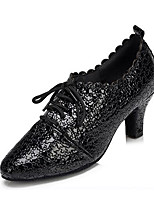 Women's Latin Real Leather Heels Professional Pattern/Print Chunky Heel Black 1