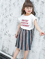 Girls' Color Block Sets,Others Summer Short Sleeve Clothing Set