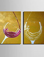 Mini Size E-HOME Oil painting Modern Red Wine And White Wine Pure Hand Draw Frameless Decorative Painting Set of 2