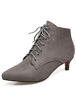 Для женщин Ботинки Удобная обувь Дерматин Осень Зима Повседневные Для праздника Для прогулок Шнуровка На каблуке-рюмочкеЧерный Серый